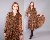 Vintage 70s DRESS / 1970s Metallic Sheer Gauze Indian India Midi Boho Dress