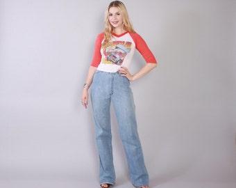 Vintage 70s BELL BOTTOMS / 1970s Boho Light Blue Denim High Waist Pants Jeans XS