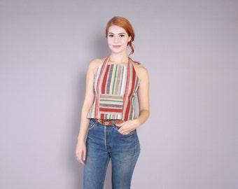 Vintage 70s HALTER  / 1970s Striped Boho Backless Apron Top