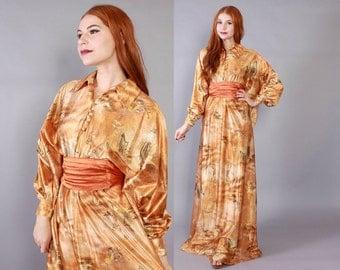 Vintage 70s CAFTAN  / 1970s Shimmering NOVELTY Print Copper Goddess Print Maxi with Obi Belt