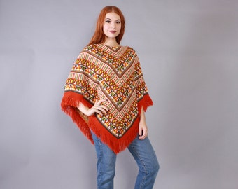 Vintage 60s PONCHO / 1960s Soft Knit SW Pattern Fringed Cape