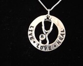 Nurse Necklace, Live Love Heal necklace, RN Necklace, LPN Necklace, Nurse Graduation, Nurse Gift