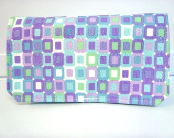 Coupon Organizer Wallet Cash Budget Organizer Holder- Attaches to your Shopping Cart - Purple and Turquoise Square Tiles