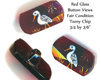 Button--ONE Mid-19th C. Enameled White Stork On Ruby Glass Lozenge
