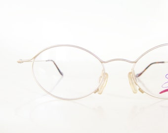 Vintage 1980s Delicate Reading Glasses Womens Readers Ladies Feminine Reading Frames Brushed Gold Metallic Indie Geek Chic Deadstock