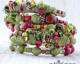 Olive Green Sari Silk Memory Wire Cuff Bracelet - Avocado Green Sari Silk Wrap Bracelet