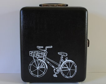 VINTAGE traveling bar with hand painted BIKE