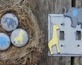"JUNGLE ANIMALS Kids Wood Knobs - Original Hand Painted Artwork - 2"" Furniture/Vanity/Closet Doors"