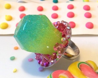 Ring Pop Resin Candy - Kawaii Jewelry - Candy Jewelry - Candy Ring - Resin Jewelry - Plastic Jewelry - Crystal Jewelry - Candy Resin Ring