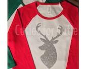 Raglan Deer Christmas Holiday Tee Glitter Vinyl