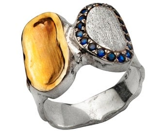 Ring silver gold 9 carats , ring for woman , Set Sapphires ring, sterling silver and gold rings,  israeli jewelry,