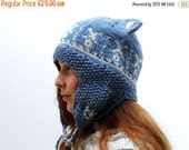 Mad Hat SALE 60% Off - LAST ONE Knitted Kitty Cat Hat - Dutch Wind Mills in blue and white