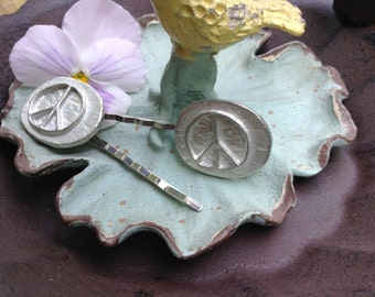 NEW! Silver Metal Peace Out Hair Clips