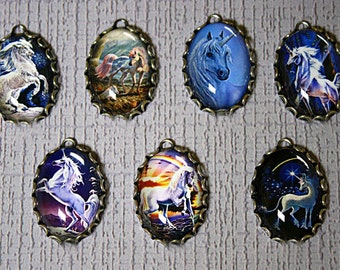 7 Qty MAGICAL UNICORNS Handmade Photo CHARM Set in 25X18mm-Fantasy Horses-Pegasus charms-Magical charms-Unicorn Charms