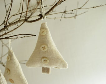 One Little Button Tree . Linen Christmas Ornament . Holiday . Wedding . Upcycled Repurposed