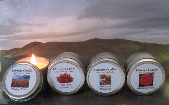 OKLAHOMA SAMPLER (four 2-oz soy candles)