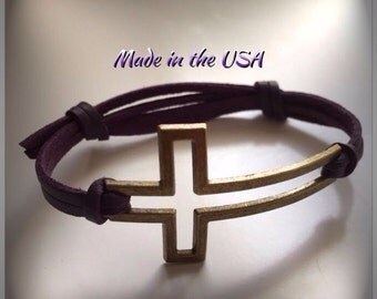Leather adjustable sideways cross bracelet