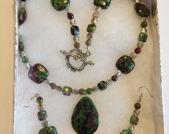 Pendant necklace & earring set, ruby in zoisite