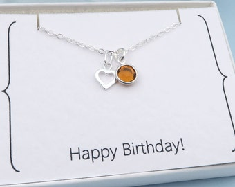 Birthstone Necklace, Silver Heart, Happy Birthday Message Card, Custom Birthstone Crystal, Gift for Her