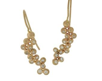 Grapevine Diamond Cluster Earrings - 14K Gold Diamond Bead Fine Handmade Custom Artisan Women's Jewelry
