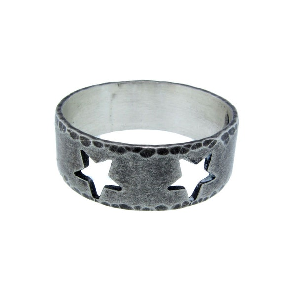 Custom sterling silver star band modern cutout symbol ring for Just my style personalized jewelry studio