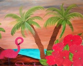 Flamngo in paradise Art Top sheet and  matching pillow cases, from my art