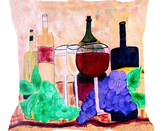 Wine and grapes wine art throw pillow with insert