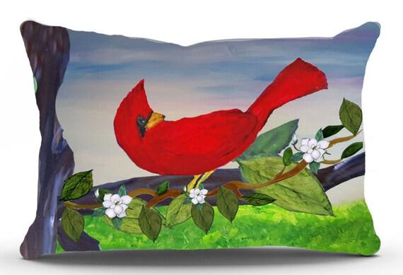 Cardinal red bird lumbar throw pillow double sided bird design