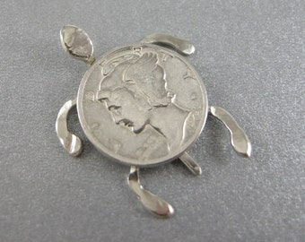 "TURTLE, SILVER, MINIATURE,SeaTurtle Sculpture, One of my ""Penny Creations"" This is a 1942 90% Silver Mercury Dime "" Dime-n-Back"" Sea Turtle,"