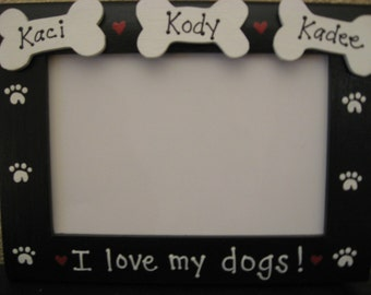 I love my dogs picture frame granddogs personalized custom picture frame