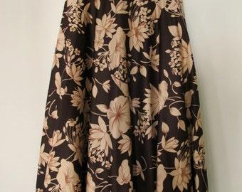 Vintage 1970's brown  floral skirt