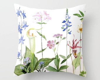 Throw Pillow Garden Flowers Nature Cover with pillow insert Indoor 2 sizes