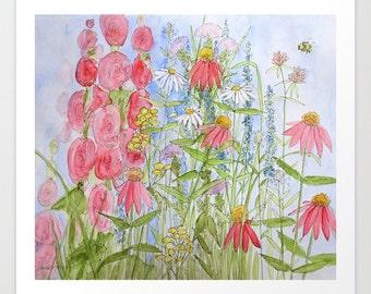 Art Garden Watercolor Print Watercolor Botanical Summer Garden Nature Art Painting Artist Laurie Rohner