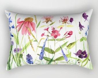 Rectangular Pillow Garden Flowers Colorful Flowers
