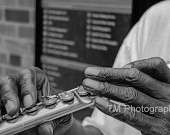 Musician Photography - Flute - Street Musician - Black and White - People - Instrument - Musicial Instrument - Fine Art Photography