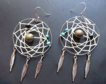 Thread Dream Catcher Hoop Earrings White Bronze Turquoise Stone Charms