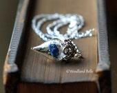Rare Blue Rose Necklace Tiny Flower Terrarium Glass Vial by Woodland Belle