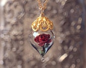 ON SALE Classic Red Rose Flower Terrarium Glass Vial Necklace - 14kt. Gold Fill (Beauty and the Beast Enchanted Rose) by Woodland Belle