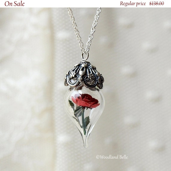 ON SALE Classic Red Rose Flower Terrarium Glass Vial Necklace (Beauty and the Beast Enchanted Rose) by Woodland Belle