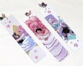 Handmade Steven Universe Bookmarks - Beaded, glossy. Rose Quartz, Steven, Greg, Amethyst, and Pearl