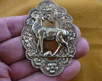 elk bull DEER standing proud scalloped oval flower design brooch pin pendant brass jewelry B-Elk-4