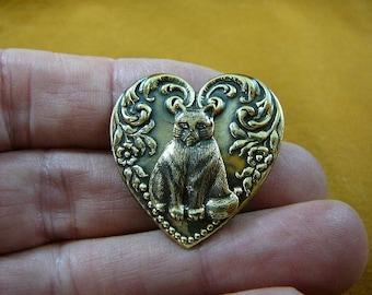 sitting little Grumpy Cat kitty kitten love cats lover scrolled hear shaped Victorian brass brooch pin pendant B-Cat-4