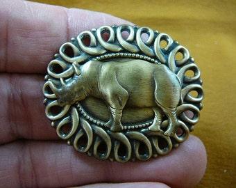 rhinoceros little rhino fire fighter lover scrolled oval shaped Victorian brass brooch pin pendant B-Rhi-3