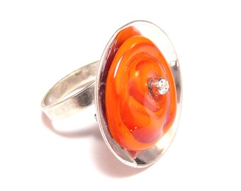 Sterling silver ring with orange Murano glass