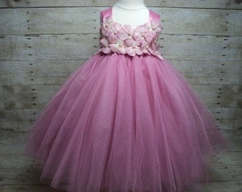 Dusty rose pink tutu dress hydrangea pearls & headband ready to ship for baby - toddler girl Pageant Flower Girl Wedding Birthday Photo Prop