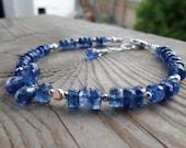 Beautiful Dark Blue Kyanite Sterling Silver Gemstone Bracelet