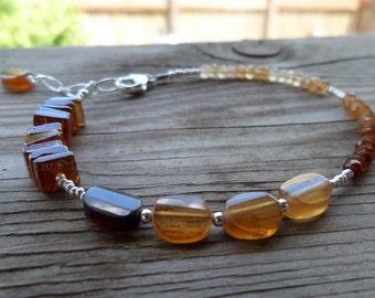 Amazing Orange (Hessonite) Garnet with Fine Silver Gemstone Birthstone Bracelet