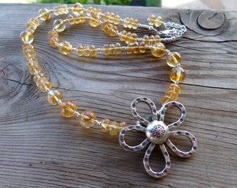 Dark Amazing Citrine with Fine Silver High Quality Necklace with Hill Tribe Silver Necklace