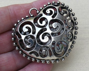 Large Antique Silver Swirly Heart 3D Pendant, Large Pendant for Scarves or Necklaces, Focal Pendant