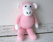 Hand Knit Little Pink Monkey, Stuffed Animal Toy, Ready To Ship, Girl Baby Shower Gift, Newborn Photo Prop, Kids Knit Monkey Soft Toy 6 3/4""
